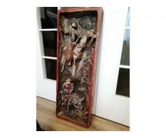 Tablou, Sculptura veche in lemn masiv