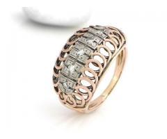 Inel antik cu diamante ca. 0, 25 crt aur 14k rosu si alb