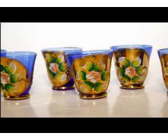 Pahare vintage de sticla pictate manual cu aur