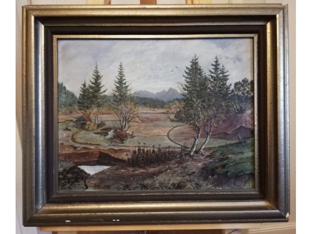 Peisaj in ulei cu rama de lemn