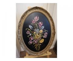 Tablou oval cu flori