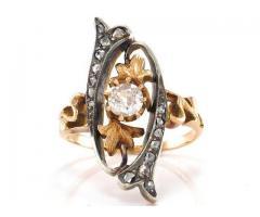Inel ANTIK cu diamante - argint și aur roz 18K
