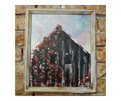 Tablou 42x35 cm Hambarul cu trandafiri cataratori