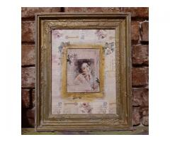 Tablou unicat shabby chic mixed media 33x26 cm intitulat Portret de epoca