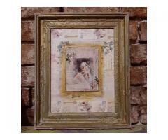 Tablou unicat shabby chic mixed media 33x26 cm intitulat Portret de epoca
